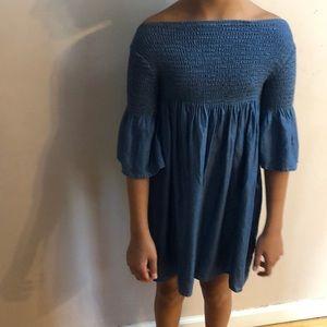 blue off the shoulder, bell sleeved dress